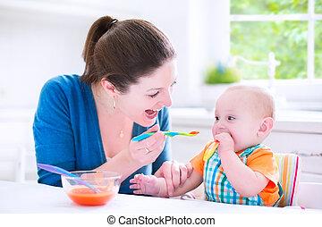 niño, el suyo, comida, sólido, alimento, bebé, primero