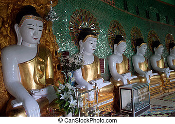 Row of Buddhas in U Min Thonze cave ,Sagaing hill,Myanmar