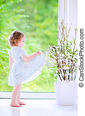 Little girl dancing - Cute little girl, funny toddler with...
