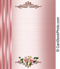 Pink Satin Wedding Invitation border - Illustration...