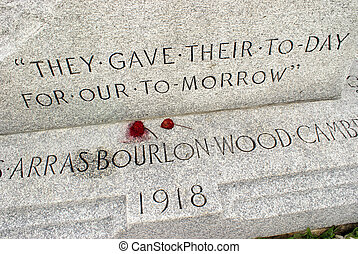 World War Memorial - A world war memorial made of stone,...
