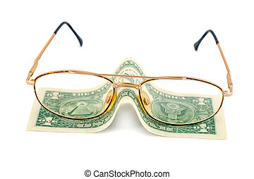 spectacles dollar success pension close-up isolated on white...