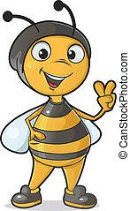 Bee gesturing victory sign - Cute cartoon bee gesturing...