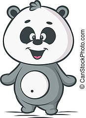 Panda cartoon character on white background