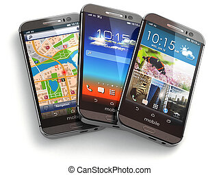 Mobile phones on white isolated background.