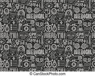 seamless doodle medical pattern