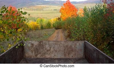 Tractor trailer  - Autumn scenery of a tractor trailer.