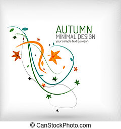 Autumn swirl lines and leaves on white, minimal design -...