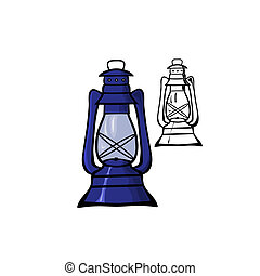 Oil Lamp - Vector illustration : Oil Lamp on a white...