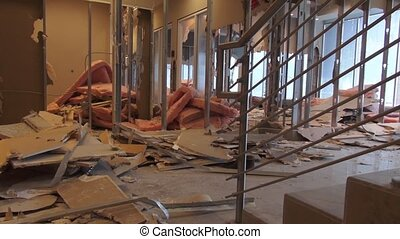 Building Remodeling - office space - A panning shot of a...