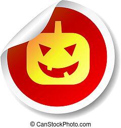 Halloween pumpkin flat icon sticker