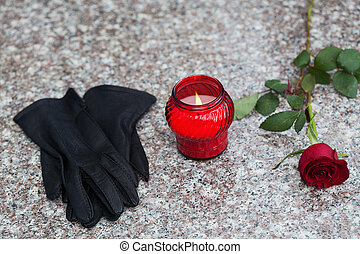 Snitch, gloves and rose - Woman's black gloves with candle...