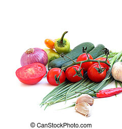 fresh green vegetables on white background (with sample text)