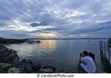 Balaton - view of the lake Balaton at sunset