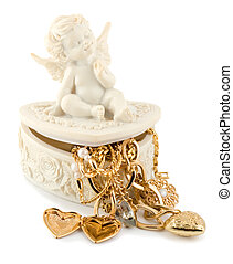 angel golden heart isolated on a white background