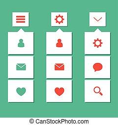 Flat ui kit simple design menu bar