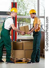 dos, hombres, trabajando, juntos, almacén
