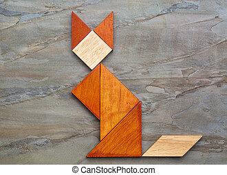 Macska, alak, -, tangram, Kivonat