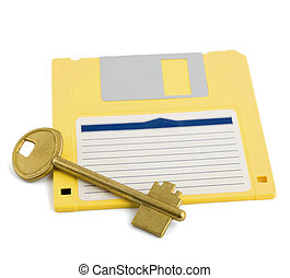 key on diskette symbol protection isolated on white...