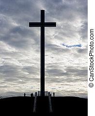 cross commemorating Pope - Catholic cross silhouette against...