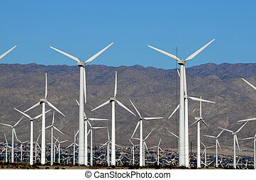 wind turbine 1 - field of wind turbines in the desert with...