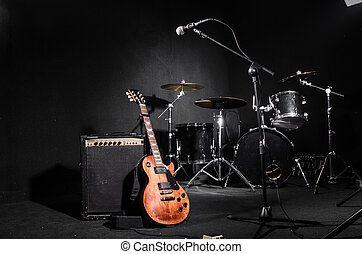 Set of musical instruments during concert