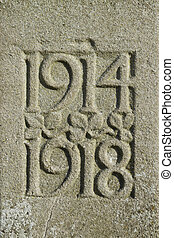 1914 1918 dates of First World War, carved in stone. -...