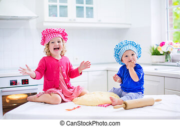 Kids baking pie - Cute kids, adorable little girl and funny...