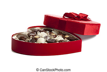 Box of Valentines Chocoloate - A red heart shaped box of...