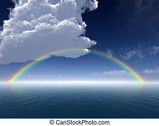 Clouds and Rainbow Over Sea -- Arial View - A background...