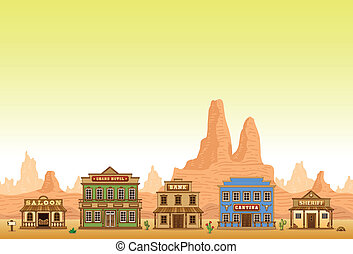 Wild West town seamless background - Wild West town game...