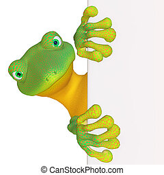 Gecko with a blank sign - isolated on the white background