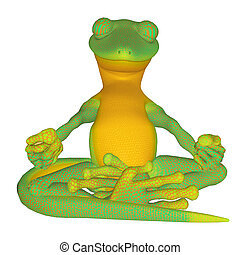 Gecko meditating - isolated on the white background