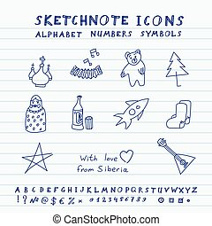 Doodle Russian Icons, Alphabet and Symbols Set Vector...