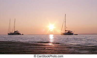 Ria Formosa- Sunset Boat Silhouette - Sunset boat silhouette...