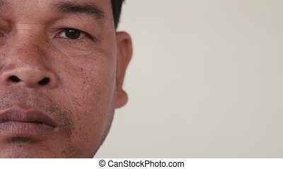 Asian man face, portrait, feelings - Portrait of real Asian...