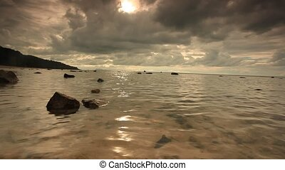 Tropical cloudy day on the beach in Koh Samui Thailand