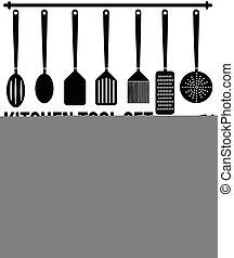 Kitchen tool icons set
