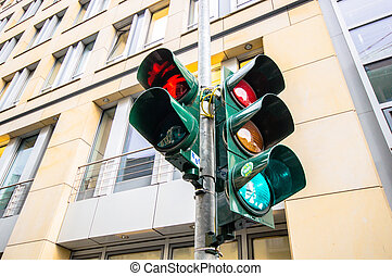 Traffic light in East Berlin, Germany