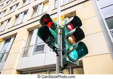 Traffic light in East Berlin, Germany