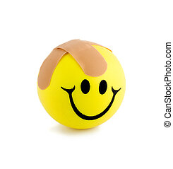 band-aids smiling ball close-up isolated on white background...