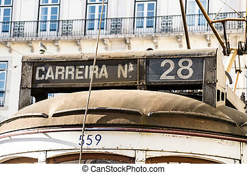 Historic tram in Lisbon, Portugal
