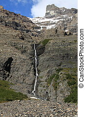 Waterfall, Torres del Paine, Chile - A waterfall, fed by a...
