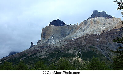 Torres del Paine, Chile - A view of the famous Los Cuernos...