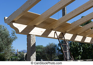 wooden beams - Roof structure with laminated wood beams