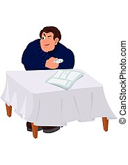 Cartoon man in blue sweater sitting at the table with injured fi