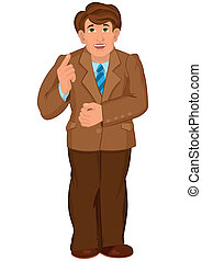 Cartoon man in brown jacket and brown pants holds finger up...