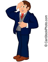 Cartoon man in blue suit touching his forehead