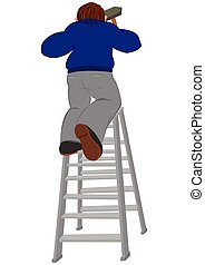 Cartoon man in blue sweater with hummer on the ladder -...