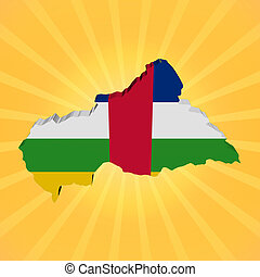 Central African Republic map flag on sunburst illustration